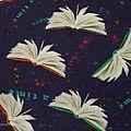Tissus Magie des livres bleu