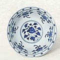 A fine <b>and</b> rare <b>blue</b> <b>and</b> <b>white</b> '<b>Lotus</b>'<b>bowl</b>, Xuande six-character mark within double circles <b>and</b> of the period (1426-1435)