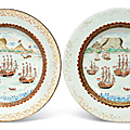 Twofamille Roseand gilt-enamelled 'Table Mountain' plates, Qianlong period (1736-1795)
