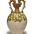 <b>A</b>sancai-glazed pottery amphora, Tang dynasty (618-907)
