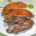 Echine de porc et melon à la plancha