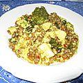 Riz aux lentilles, au poulet et aux légumes à l'indienne ou inspiration du biryani