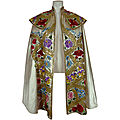 White satin spanish matador's cape (from suit of lights). spain, circa 1940s (?)