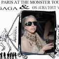 LADY GAGA wearing on <b>aura</b> <b>tout</b> <b>vu</b> haute couture ensamble in her limousine