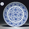 A rare <b>large</b> Ming-style blue and white dish, Yongzheng six-character mark in underglaze blue within a double circle and of the p