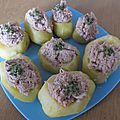 Patates farcie au thon pour l entrée et verrines avocat surimi pour l apéro