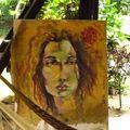 portrait de ourdia, femme gitane kabyle, mazunte, mexique