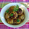 Boulettes de viande hachée/pommes de terre, à l'échalote et raisins secs épicés ( babette de rozières )