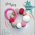 Cadeaux de naissance Anneau de dentition - Hochet au Crochet et bois - Rose - Fait-main Made in France