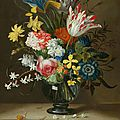 Jacob Marrel, A flower bouquet in a glass vase, on a stone plinth, with a small <b>snail</b>