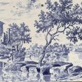 18th Century Dutch Delft blue and white, polychrome & <b>manganese</b> <b>red</b>