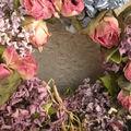 couronne roses et hortensias