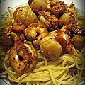 Crevettes & noix de saint-jacques aux piments