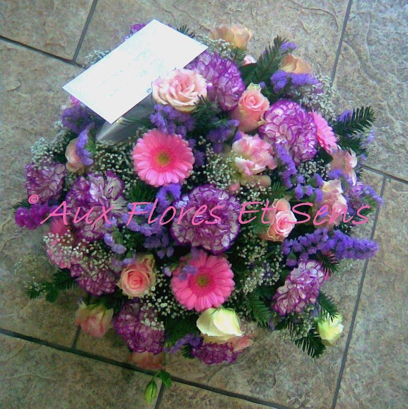 Coussin rond mauve rose et violet