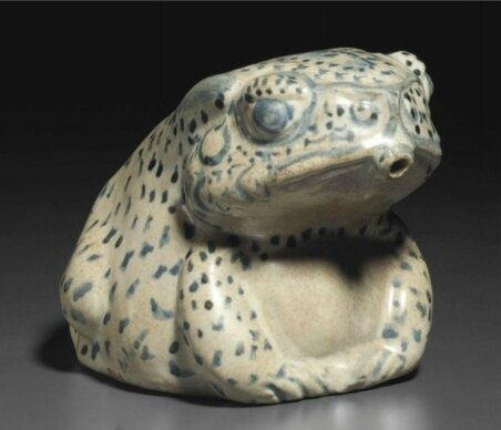 A blue and white frog-form water dropper, Vietnam, circa 15th century