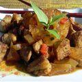 Quand le sucré s'invite chez le salé , edition #13 : bouchées de porc en aigre-douce aux pommes, poires et ananas séchés