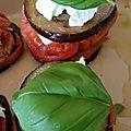 Millefeuille aubergine, tomates, burrata et basilic