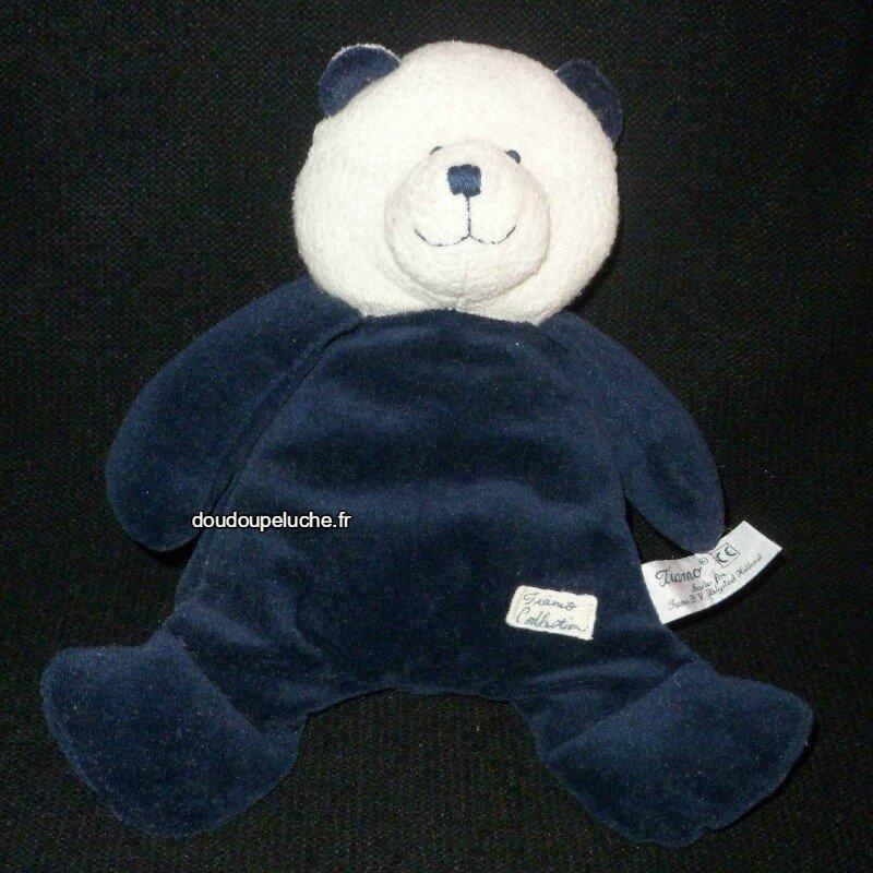 Doudou peluche ours bleu blanc Tiamo collection