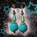 BO Fimo cratère turquoise et argent (N)