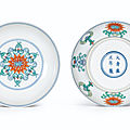 A fine pair of doucai 'Double <b>lotus</b>' dishes, marks and period of Yongzheng (1723-1735)