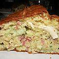 Cake chèvre/lardons/poireaux