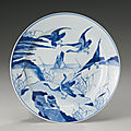 A blue and white 'wild <b>geese</b>' dish, Qing dynasty, Kangxi period (1662-1722)