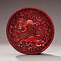 A very rare <b>cinnabar</b> <b>lacquer</b> 'lion' dish, Yuan dynasty, 14th century