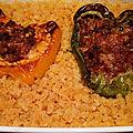 Poivrons et <b>courgettes</b> <b>farcis</b>, riz ou lentilles corail