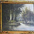 Tableau style barbizon paysage signé