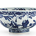 A <b>blue</b> <b>and</b> <b>white</b> '<b>Immortals</b>' <b>bowl</b>, mark <b>and</b> period of Wanli (1573-1619)