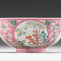 A pink-ground famille-rose 'medallion' bowl, Daoguang seal mark <b>and</b> period (1821-1850)