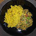 Riz au <b>curry</b> et son <b>curry</b> de champignons-tomate