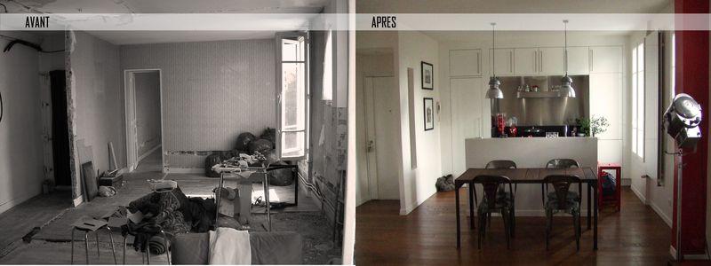 avant apr s r novation appartement de 80m aux lilas 93. Black Bedroom Furniture Sets. Home Design Ideas