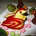 Poule en pomme pour pâques