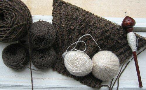 Fern qiviut cachemire soie filés main au fuseau (orenburg ou autre)