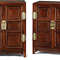A pair of <b>huanghuali</b> square corner kang cabinets, Late Ming dynasty