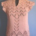 Aran weight lace shell with raglan cap sleeves