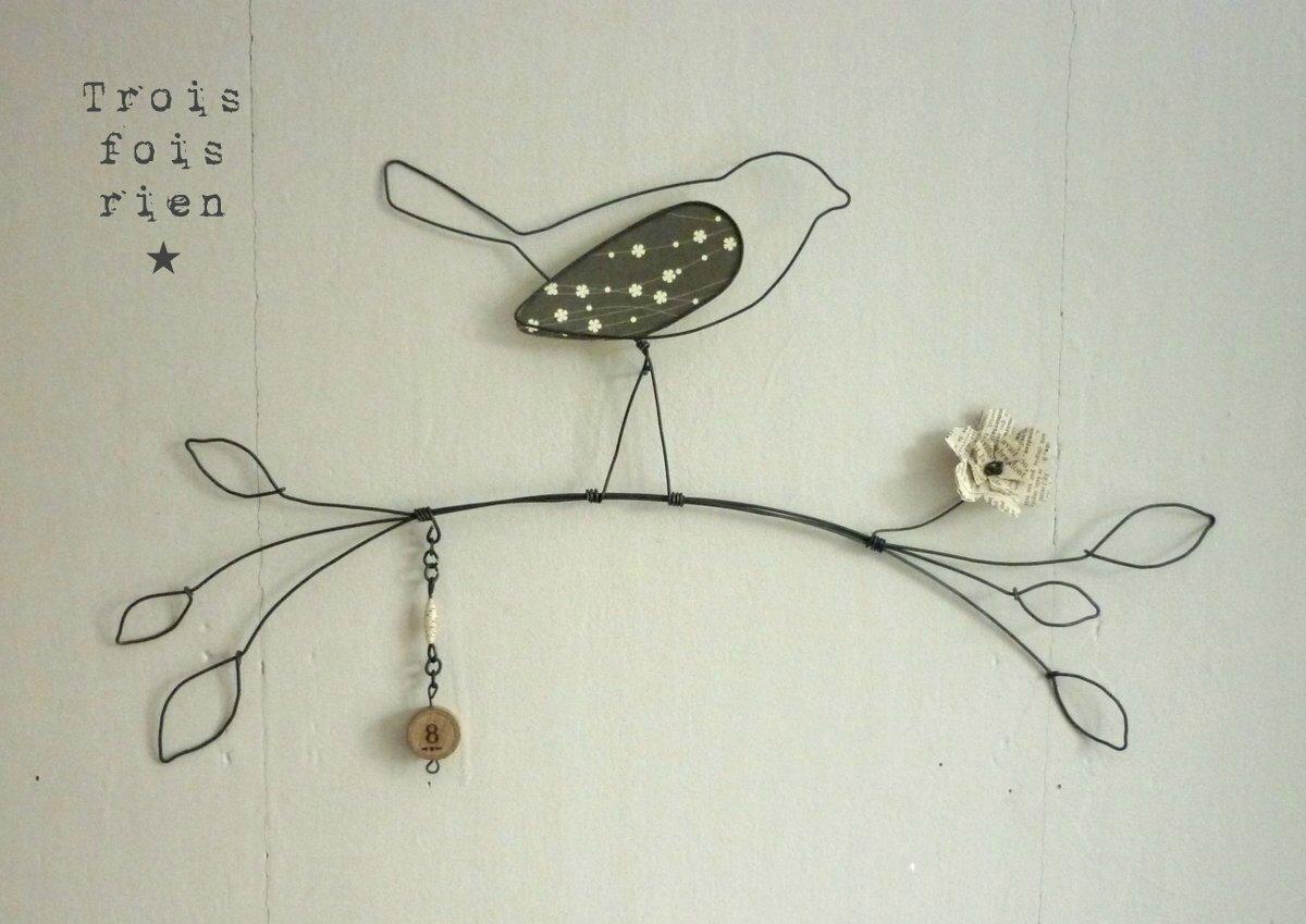 oiseau fil de fer n 9 photo de les oiseaux fil de fer trois fois rien la petite fabrique. Black Bedroom Furniture Sets. Home Design Ideas