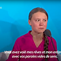 Greta Thunberg : Vous avez volé mes rêves et mon enfance - How <b>dare</b> you ? - Greta Thunberg at Climate action summit September 23
