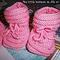 Chaussons layette (rose ou bleu) tricotés main au point de godron (avec explication du modèle)