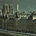 Notre dame ile de la cité, les tours de notre-dame, la nuit et le jour. cartes postales