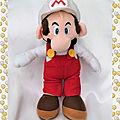 Peluche Doudou <b>Mario</b> Casquette Blanche Salopette Super <b>Mario</b> Bros Nintendo 30 cm