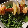 Brochette rhubarbe - crevette
