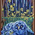 Oisillon chouette lapone forêt Amérique du Nord - Peinture animaux sauvages oiseaux - Peinture sur bois d'après photo Terre Sauvage - Young bird owl Lapp