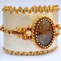 Bracelet Manchette Brodé Bronzite