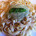 Tagliatelles fraîches sauce courgette chèvre basilic