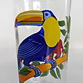 Vaisselle vintage ... service décoré pichet et verres le parfait * toucan