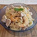 Spaghettis au poulet et crevettes