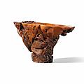 A rhinoceros horn '<b>rocky</b> <b>landscape</b>' <b>libation</b> <b>cup</b>, 17th-18th century