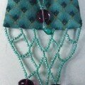 Amulet purse, cotton and beads, $20. plus shipping